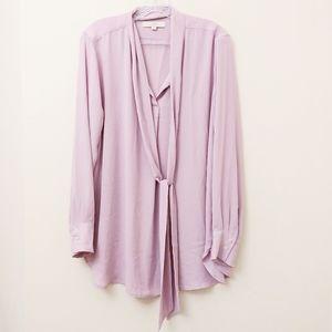 Ann Taylor Pink Tie-Neck Blouse Top Size L